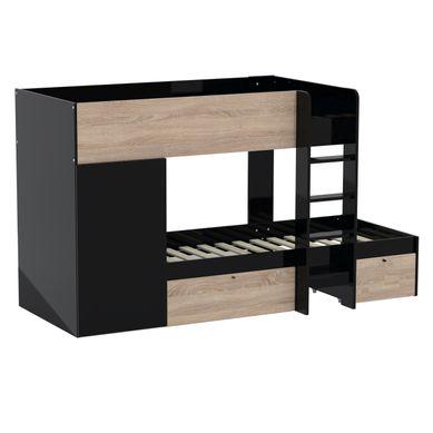 avec armoire + 2 tiroirs TWIN  imitation chêne et noir