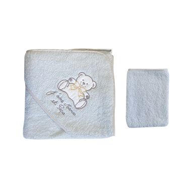 Coffret Parure de draps et Sortie de bain blanc et violet Motif Nounours