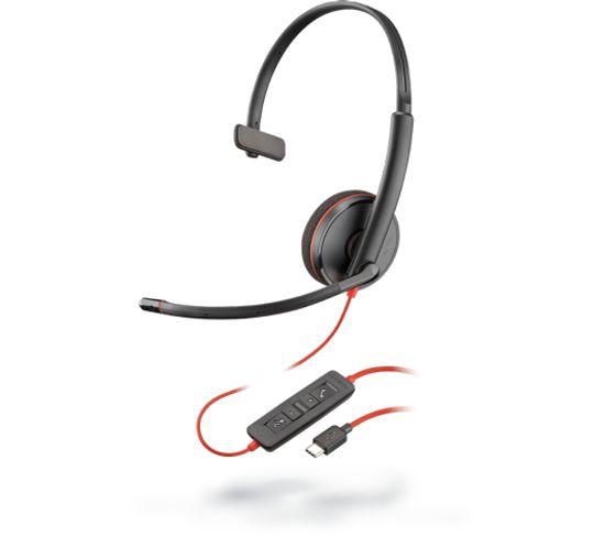 Casque Micro Filaire Blackwire C3210 Noir, Rouge