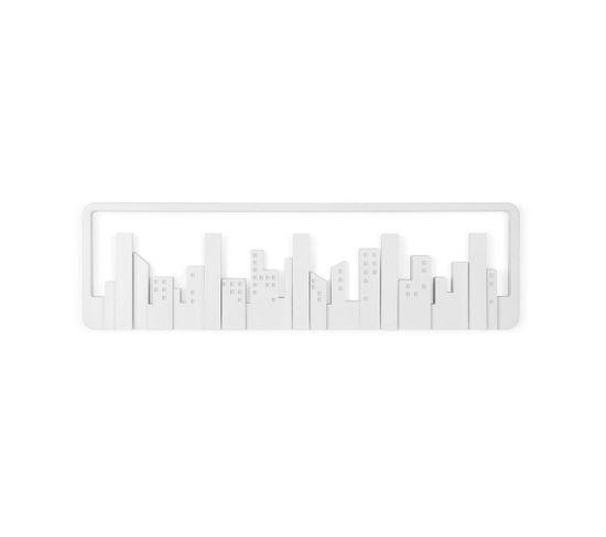 Porte Manteau Mural Design Skyline Blanc