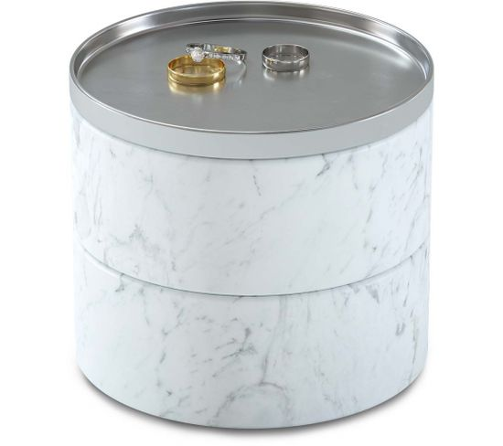 Boite À Bijoux Imitation Marbre Blanc Tesora