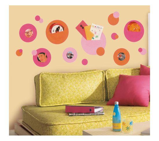 Stickers Repositionnables Cadres Pois Orange Et Rose - Cadres Pois