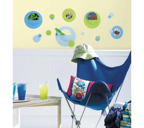 Stickers Repositionnables Cadres Et Poches De Rangement Pois Bleu Et Vert - Cadres - Poches Pois