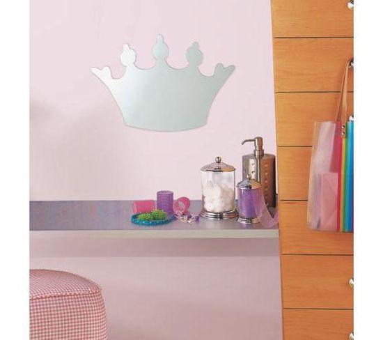 Sticker Repositionnable Miroir Grande Couronne De Princesse - Miroir Grande Couronne