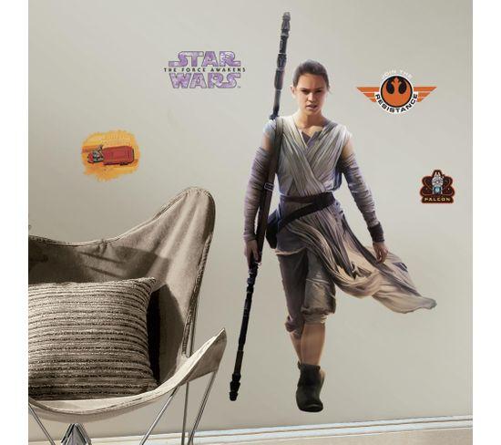 Stickers Repositionnables Géants Rey, Star Wars Episode Vii 140x73 - Star Wars Episode 7 Rey