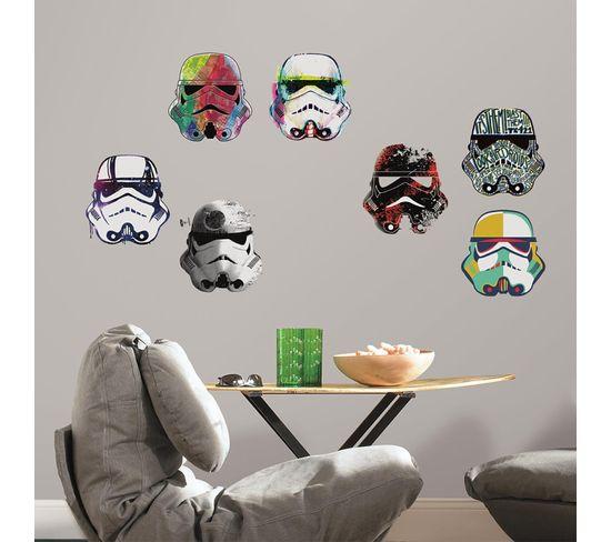 Stickers Repositionnables Star Wars Casques De Stormtrooper 21,9cm X 92,7cm