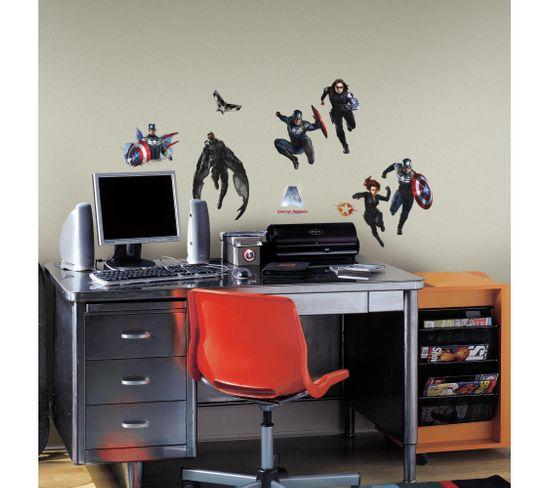 Stickers Repositionnables Géants Captain America, Le Soldat De L'hiver, Marvel - Captain America