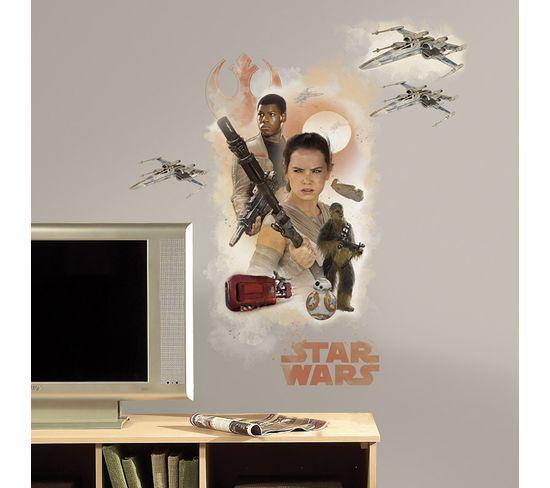Stickers Repositionnables Géants Star Wars Episode Vii 75x82 - Star Wars Ep Vii Hero Burst