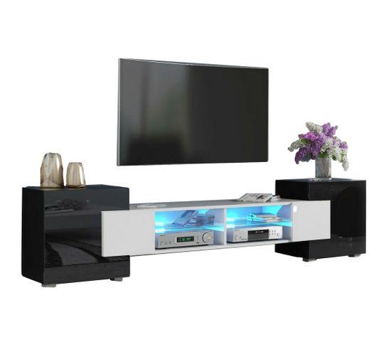 Meuble TV Pablo 230 Cm Avec LED Blanc Mat Et Noir Laqué