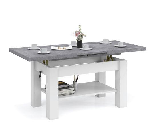 Table Basse Sierra Blanc Beton Relevable Et Extensible Jusqu' 150 Cm