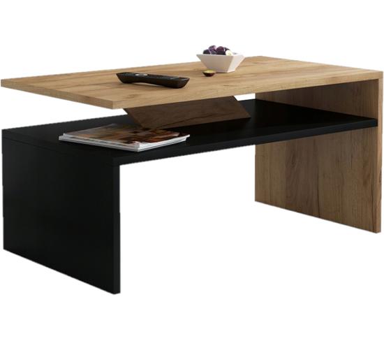 Table Basse Praia En Noir Et Finition Bois 90 Cm
