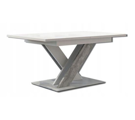 Table A Manger Extensible Bruce - Beton Et Blanc 140-180 Cm