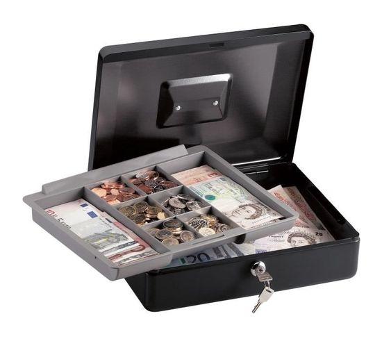 Coffre À Monnaie 8 Compartiments À Clé 5.91l Noir