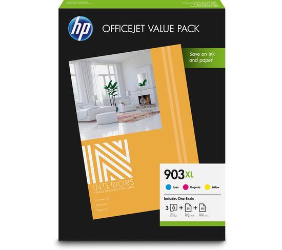 Hp 903xl Officejet Value Pack Cartouche D'encre Original Rendement Élevé (xl) Cyan, Magenta, Jaune