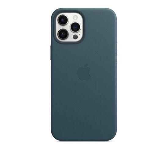 Coque En Cuir iPhone 12 Pro Max Avec Magsafe - Bleu Baltique