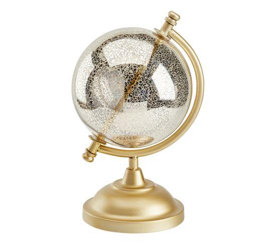 Globe H.27 cm CRAQUELE Argent / Doré / Transparent