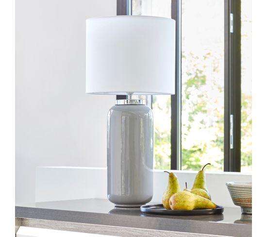 lampe H. 60 cm faience ELISE taupe