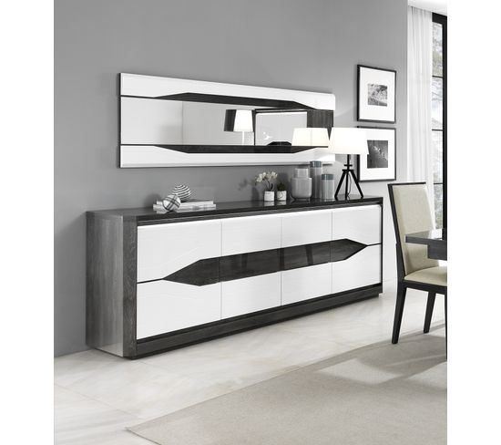 Miroir rectangulaire L.180 MATERA Blanc/imitation chêne gris