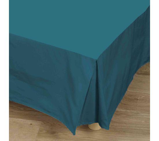 Cache-sommier Bleu Canard 100% Coton 90x190 Cm - Tradilinge