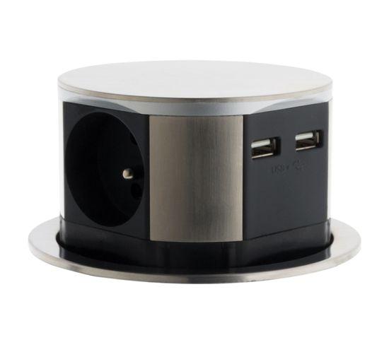 Bloc Multiprise Encastrable Compact 3 Prises 16a 2p+t et 2x Usb