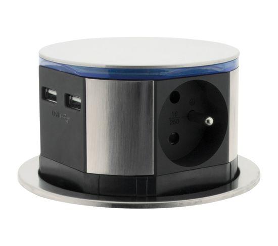 Bloc Multiprise Encastrable Compact LED 3 Prises 16a 2p+t et 2x Usb