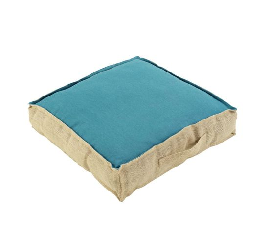 Coussin De Sol 45x45x10 Cm Belita Coton Jute Turquoise