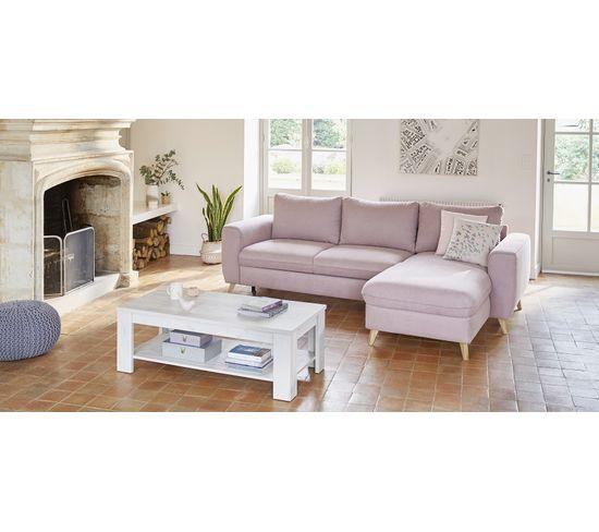 Canapé d'angle convertible méridienne réversible LAGO tissu Enjoy rose 19