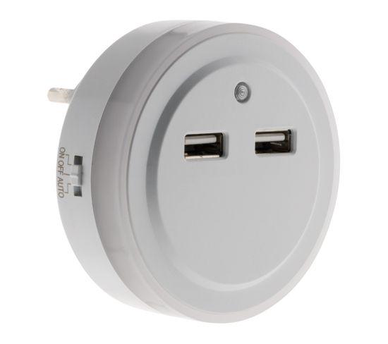 Veilleuse LED Automatique Avec 2 Ports Usb