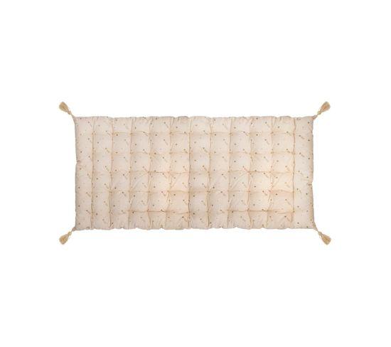 Matelas De Sol Coussin En Coton Doré Étoilé Et Pompons 60 X 120 Cm