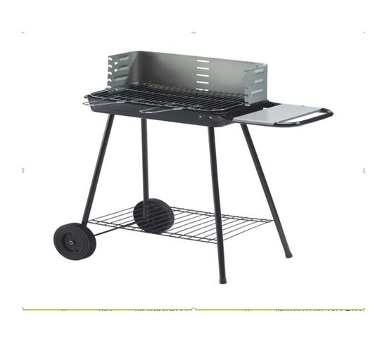Barbecue à charbon réglable avec roues, table d'appoint et