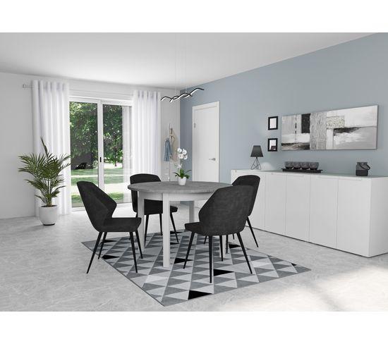 Table ronde +  allonge RUBEN Blanc /béton