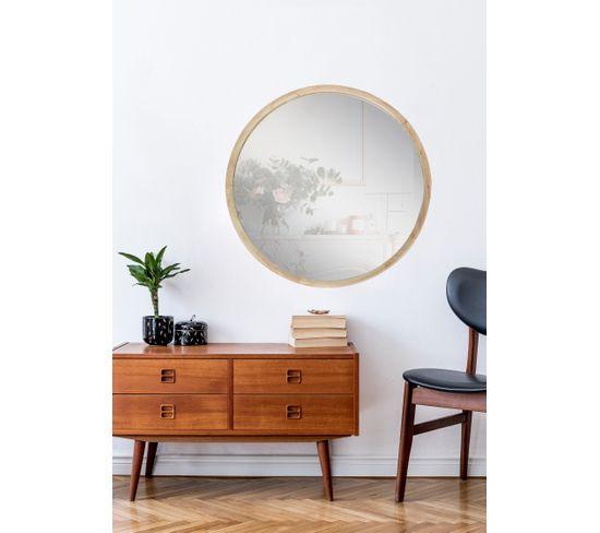 Miroir rond D90 cm LALOU Chêne