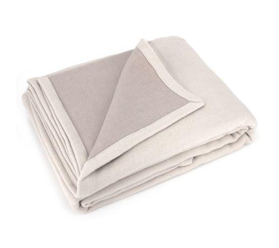 Couverture Été 180x240 Cm 100% Coton 260 Gm2 Provence Bicolore Ecru Galetmastic