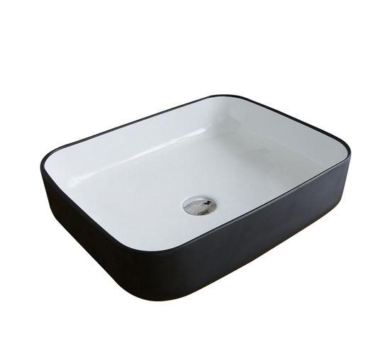 Vasque Ovale En Céramique Noire Et Blanche