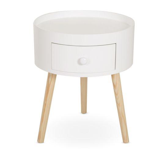 Chevet Table De Nuit Ronde 1 Tiroir Design Scandinave Bicolore