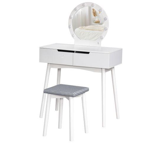 Coiffeuse Design Contemporain 2 Tiroirs Miroir LED + Tabouret Inclus Mdf Pin Blanc