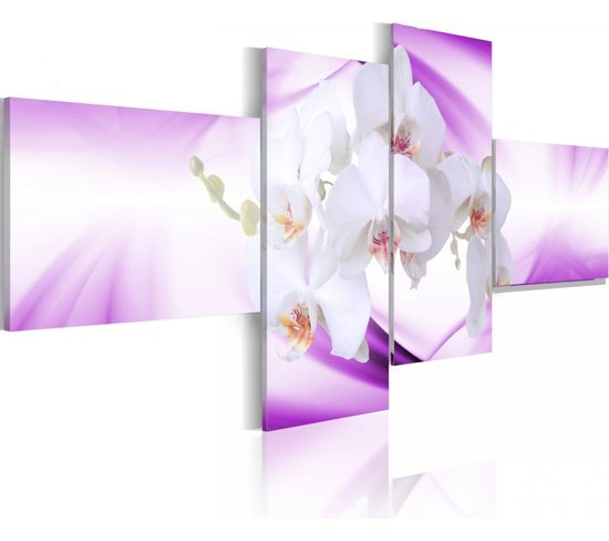 Tableau Orchidée Subtile En Violet 100 X 45 Cm