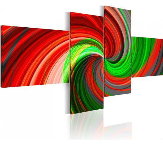 Tableau Spirale En Vert Et Rouge 200 X 90 Cm