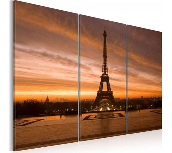 Tableau Coucher De Soleil Sur La Tour Eiffel 60 X 40 Cm