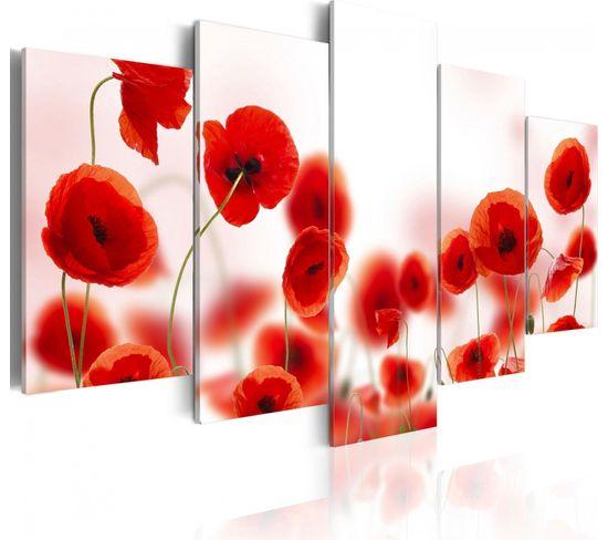 Tableau Coquelicots Rougeâtres 100 X 50 Cm