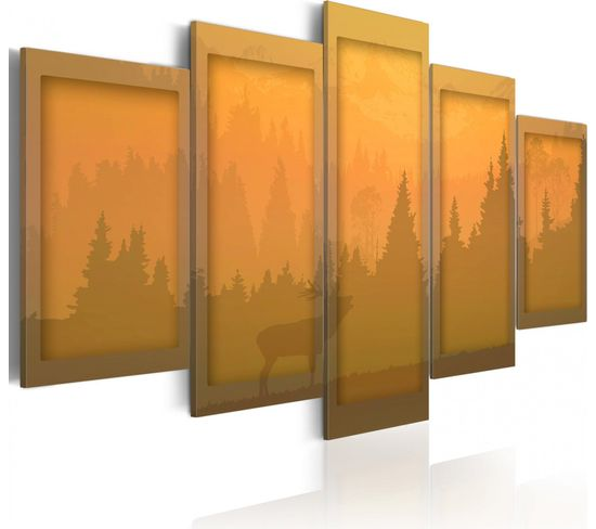 Tableau Orange Paysage 100 X 50 Cm