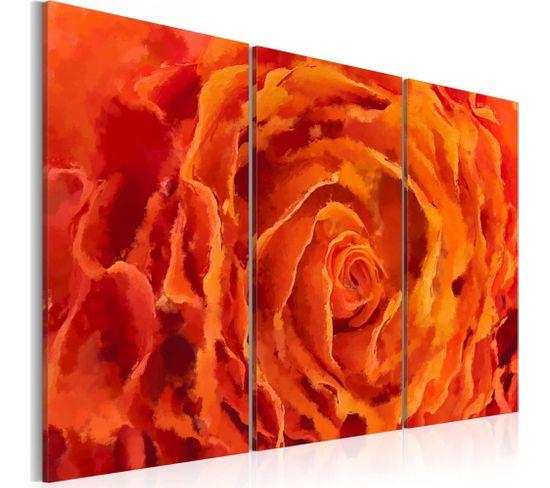 Tableau Rose En Orange Triptyque 120 X 80 Cm