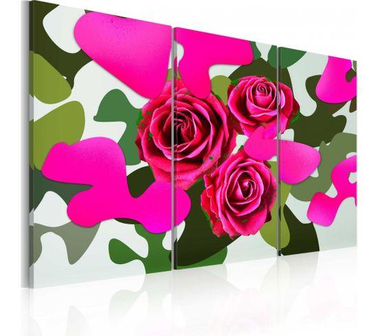 Tableau Roses Au Neon Triptyque 120 X 80 Cm