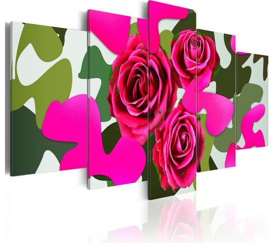 Tableau Roses Au Neon 200 X 100 Cm