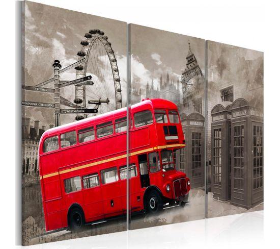 Tableau Red Bus 120 X 80 Cm