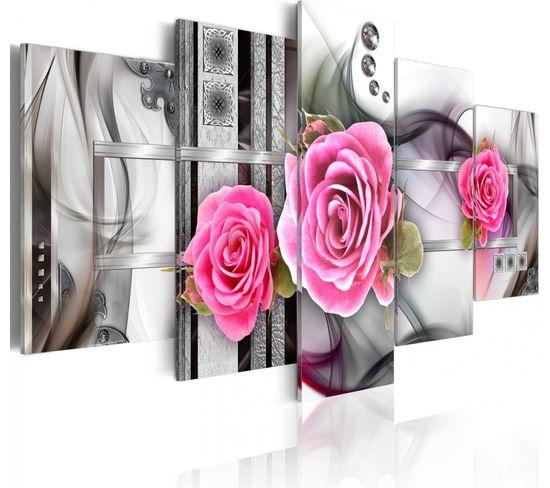 Tableau Fantaisie Et Roses 100 X 50 Cm