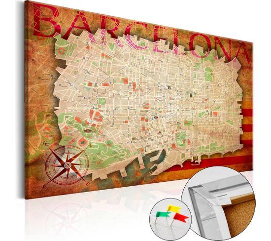 Tableau En Liège Map Of Barcelona 90 X 60 Cm