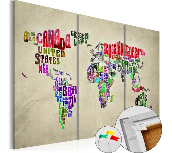 Tableau En Liège Colorful Countries 90 X 60 Cm