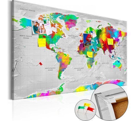 Tableau En Liège Maps: Colourful Finesse 90 X 60 Cm