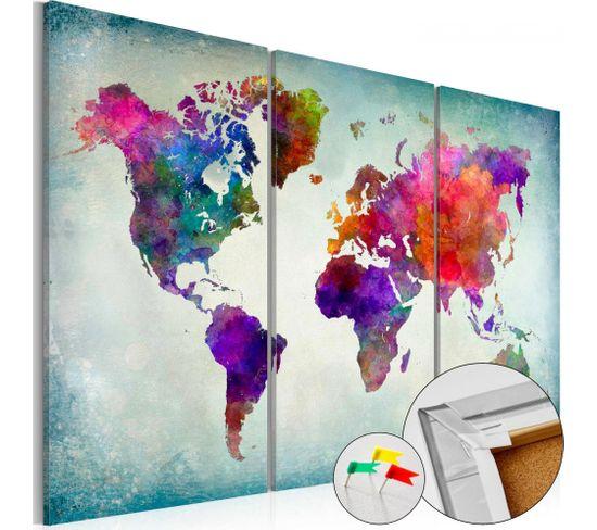 Tableau En Liège World In Colors 90 X 60 Cm